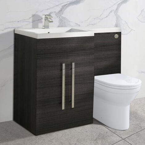 NRG Grey Left Hand Bathroom Furniture Cabinets Combination Vanity Sink Unit Set with Toilet