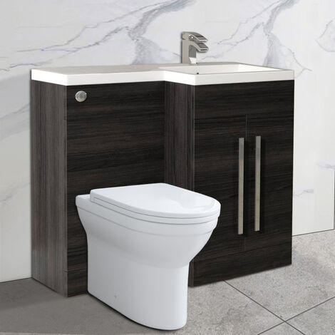 NRG Grey Right Hand Bathroom Furniture Cabinets Combination Vanity Sink Unit Set with Toilet