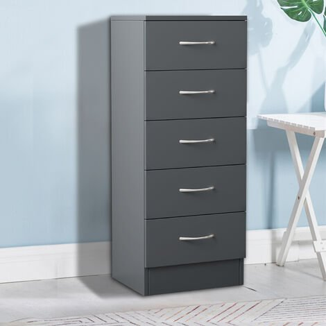 NRG Grey Tall Narrow Chest of 5 Drawers With Metal Handles Storage Cabinets Unit 34.5x36x90cm