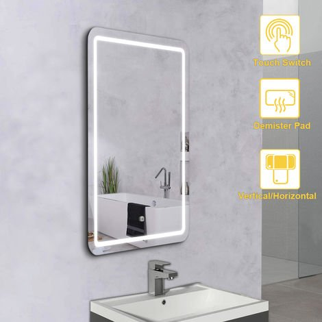NRG Illuminated Bathroom LED Mirror with Touch Switch Wall-Mounted Demister Pad Mirrors Horizontal & Vertical 600x800mm