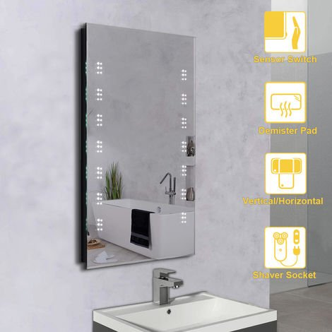 NRG Illuminated LED Bathroom Mirror with Shaver Socket Sensor Touch control with Demister Pad Horizontal & Vertical 600x800mm
