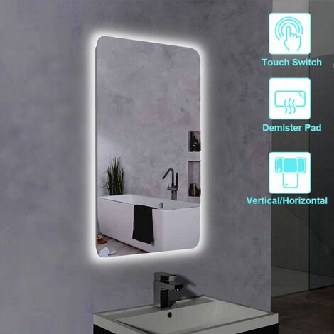 NRG Illuminated LED Bathroom Mirror with Touch Switch Anti-Fog Demister Heated Pad Mirrors Horizontal & Vertical Fit 600x800mm