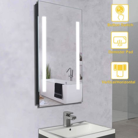 NRG Illuminated LED Bathroom Mirrors with Switch Button Demister Pad + Cool Horizontal & Vertical 500x700mm