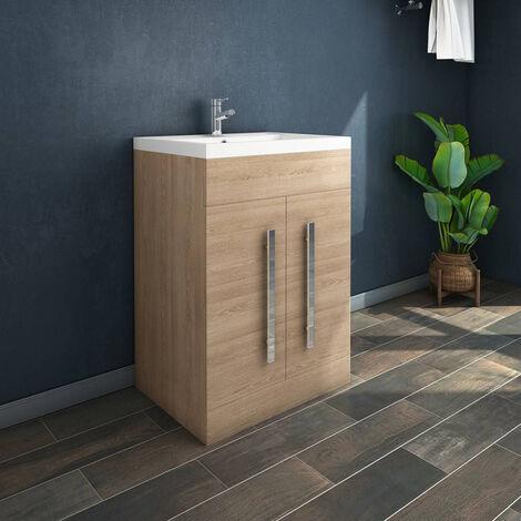 NRG Light Oak Bathroom Furniture Storage Cabinet Freestanding Vanity Unit & Basin - 600mm