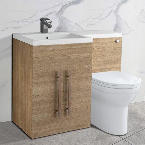 NRG Light Oak Left Hand Bathroom Cabinet Storage Furniture Combination Vanity Unit Set with Toilet