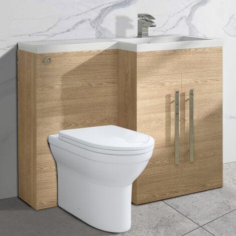 NRG Light Oak Right Hand Bathroom Cabinet Storage Furniture Combination Vanity Unit Set with Toilet