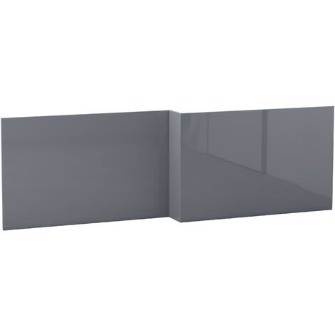 NRG Modern Bathroom L Shaped Bath Panels MDF Front Bath Panel 1700mm Gloss Grey