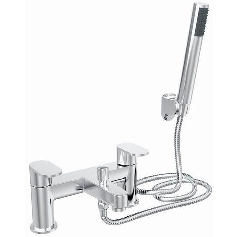 NRG Modern Bathroom Set Bath Shower Mixer Tap with Handheld Shower Head Chrome