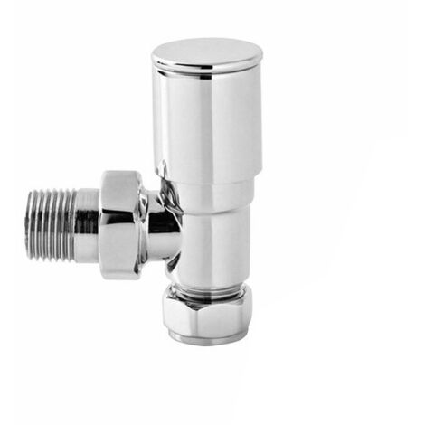 NRG Premium Manual Angled Round Head Towel Rail Radiator Valve Central Heating Taps Chrome