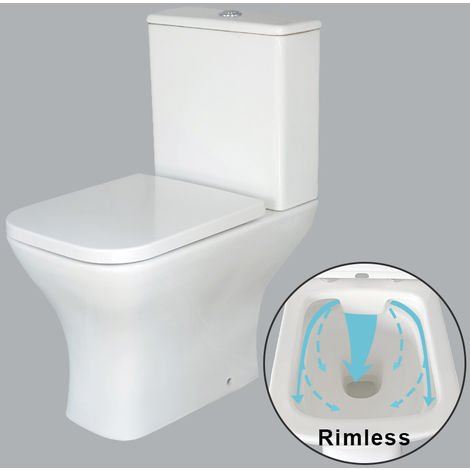"""main image of """"NRG Push Button Flush Rimless Close Coupled Toilet WC Pan & Cistern with Soft Closing Seat"""""""