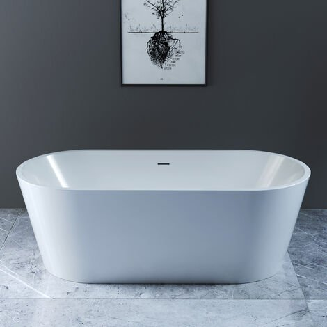 NRG Round Freestanding Bathtub White Acrylic Bathroom Fixtures Luxury Design Bath Built in Waste 1700 x 800mm