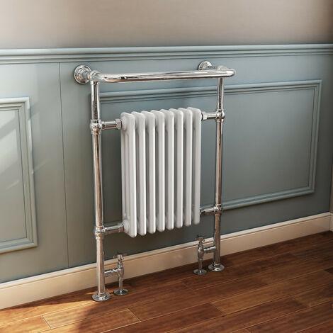NRG Traditional Bathroom Heated Towel Rail Column Radiator Cast Iron Rad White & Chrome 952x659 mm