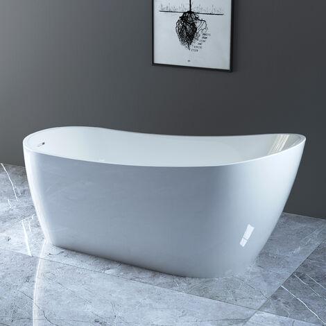 NRG Traditional Design Freestanding Slipper Bath White Acrylic Bathtub Built in Waste 1665 x 720mm