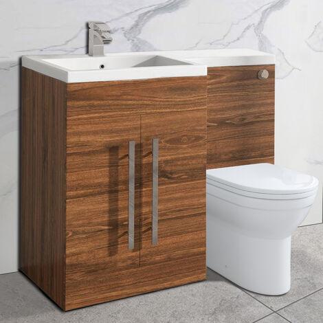 NRG Walnut Bathroom Cabinets Left Hand Storage Furniture Combination Vanity Unit Set with Toilet