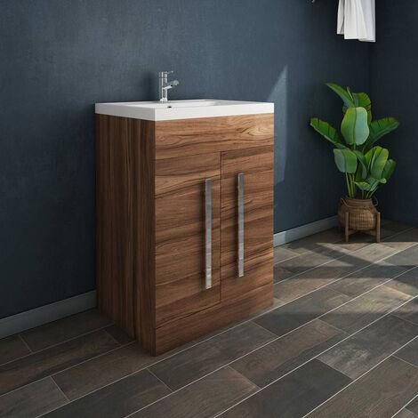 "main image of ""NRG Walnut Bathroom Furniture Storage Cabinet Freestanding Vanity Unit & Basin - 600mm"""