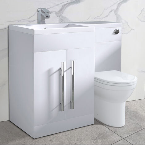 NRG White Bathroom Left Hand Storage Furniture Combination Vanity Unit Set with Toilet