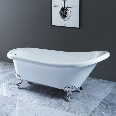 NRG White Traditional Bathroom Luxury Freestanding Slipper Bathtub with Chrome Claw Feet 1700 x 750mm