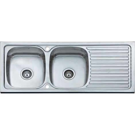 N.S.S - 1200 x 500 Double bowl inset sink with drainer