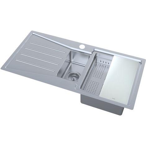 N.S.S - Kensington 1.5 Bowl Stainless Steel Inset Sink LHD