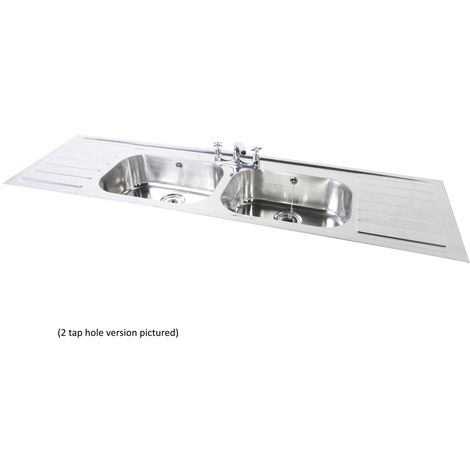 N.S.S - PLAND Double Bowl Double Drainer 2 Tap Hole SInk