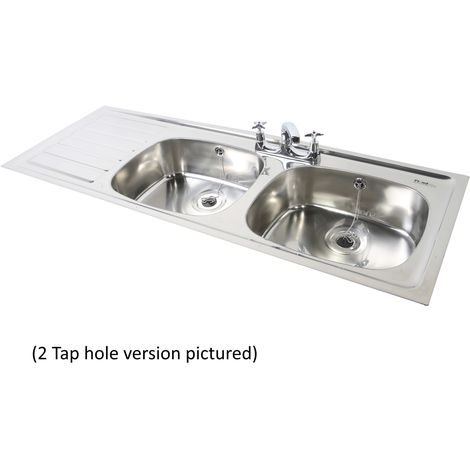 N.S.S - PLAND Double Bowl Single Drainer 1 Tap Hole LHD