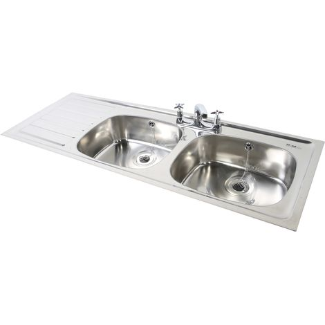 N.S.S - PLAND Double Bowl Single Drainer 2 Tap Hole LHD