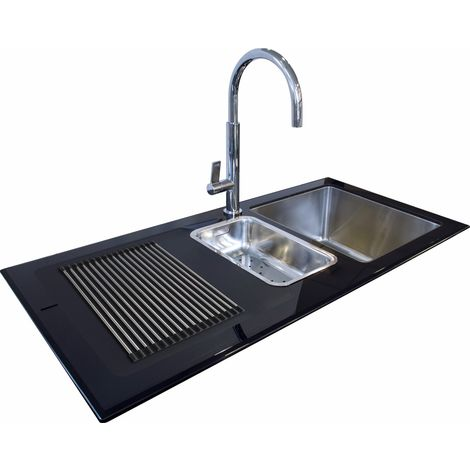 N.S.S - Reflection Glass Kitchen Sink Black LHD 1.5 Bowl 1000x500mm - Black