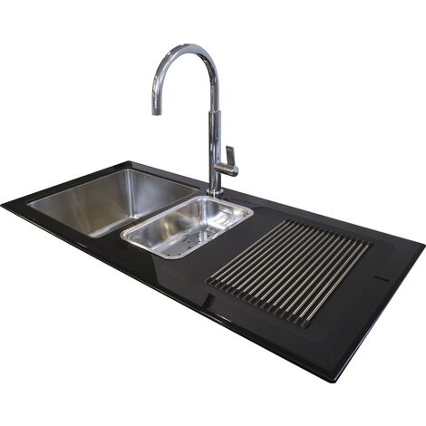 N.S.S - Reflection Glass Kitchen Sink Black RHD 1.5 Bowl 1000x500mm - Black