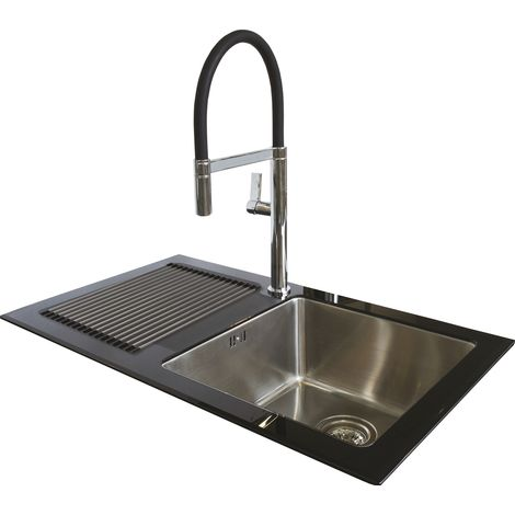 N.S.S - Reflection Glass Kitchen Sink LHD Black Single Bowl - Black
