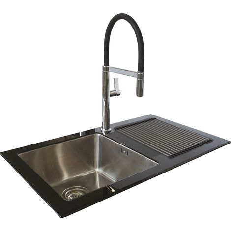 N.S.S - Reflection Glass Kitchen Sink RHD Black Single Bowl - Black