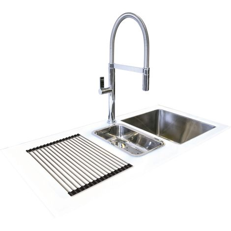 N.S.S - Reflection Glass Kitchen Sink White LHD 1.5 Bowl 1000x500mm - White