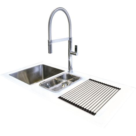 N.S.S - Reflection Glass Kitchen Sink White RHD 1.5 Bowl 1000x500mm - WHITE
