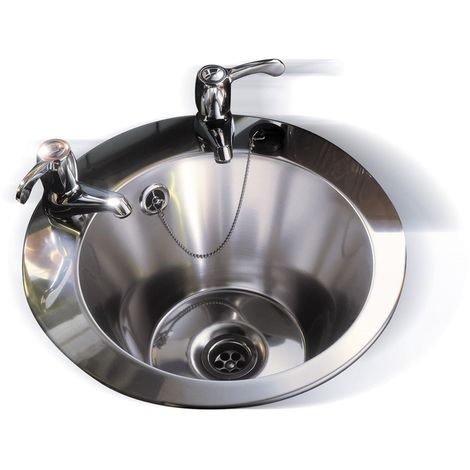 N.S.S - Round Inset Basin With 2 Tap Holes 390mm diameter