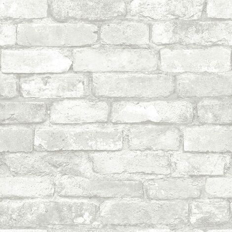 "main image of ""NU1653 Gray and White Brick Peel & Stick Wallpaper"""