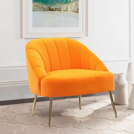 Nubuck Velvet Bucket Style Accent Chair