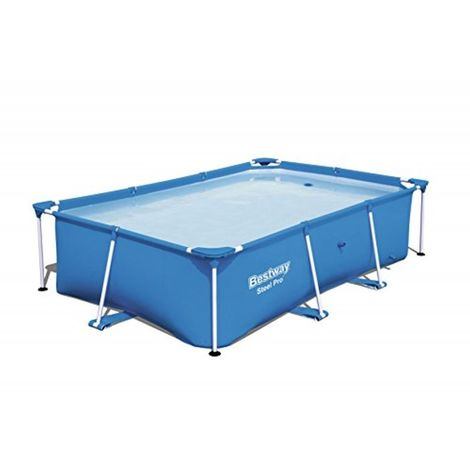 Nueva Bestway piscina rectangular con marco de acero 3tamaños azul patio trasero