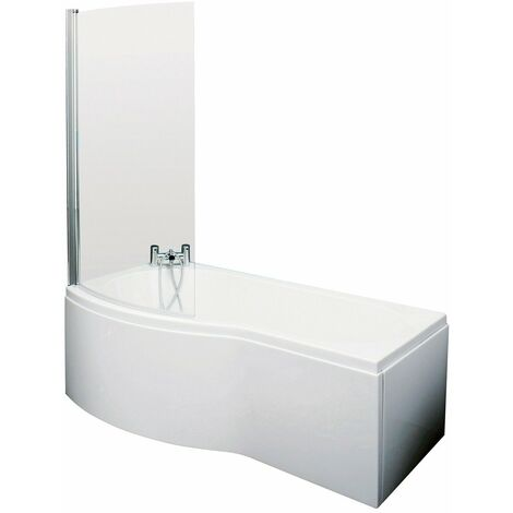 Nuie 1700mm x 900mm Left Hand B Shape Shower Bath with Screen and Front Panel - SBATH07