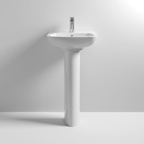 Nuie Ambrose Basin and Full Pedestal 450mm Wide 1 Tap Hole