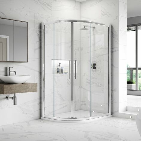 Nuie Apex Offset Quadrant Shower Enclosure 1200mm x 800mm with Shower Tray LH - 8mm Glass