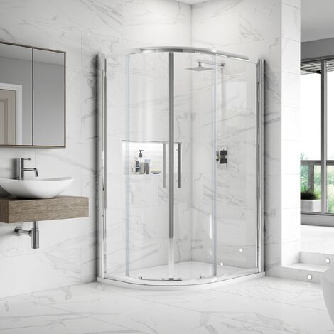 Nuie Apex Offset Quadrant Shower Enclosure 900mm x 800mm with Shower Tray LH - 8mm Glass