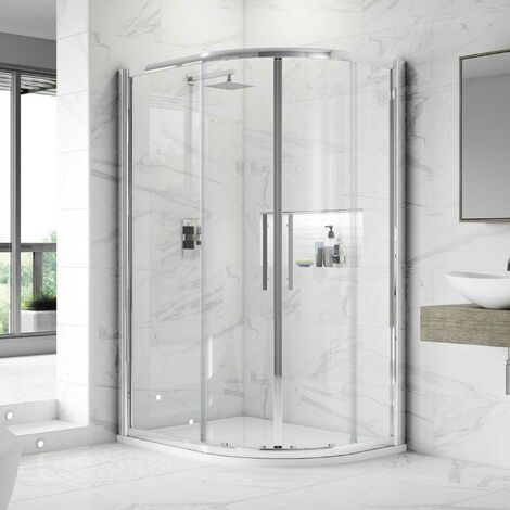 Nuie Apex Offset Quadrant Shower Enclosure 900mm x 800mm with Shower Tray RH - 8mm Glass