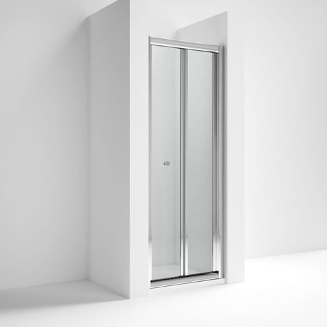 Nuie AQBD12 Pacific | Modern Bathroom Reversible Bi-Fold Shower Door With 4mm Toughened Safety Glass, 1200mm, Glass