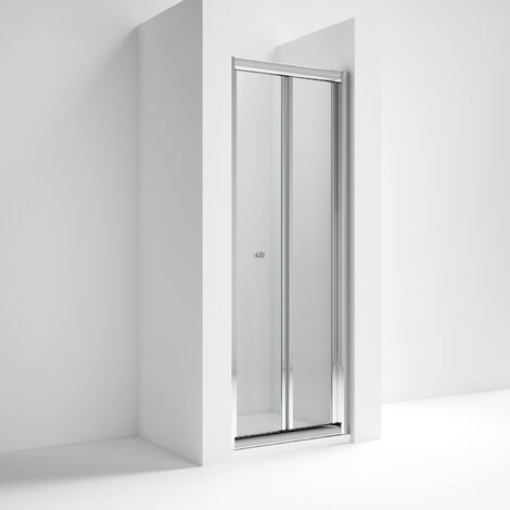 Nuie AQBD9 Pacific | Modern Bathroom Reversible Bi-Fold Shower Door With 4mm Toughened Safety Glass, 900mm, Glass