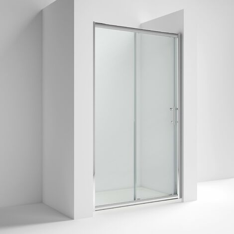 Nuie AQSL12 Pacific | Modern Bathroom Reversible Sliding Shower Door With 6mm Toughened Safety Glass, 1200mm, Glass