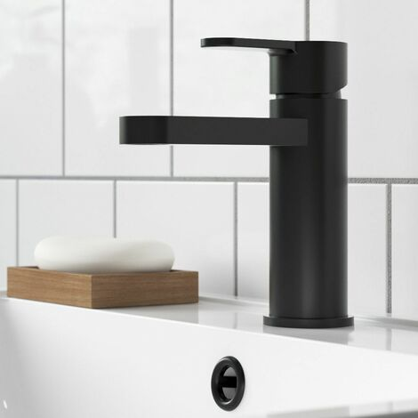 Nuie Arvan Mono Basin Mixer Tap With Push Button Waste - Matt Black