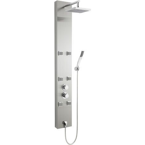 Nuie AS374 Easton ǀ Modern Bathroom Thermostatic Shower Panel with 6 Square Body Jets and Handset with Square Fixed Head, 1500mm x 200mm, Stainless Steel