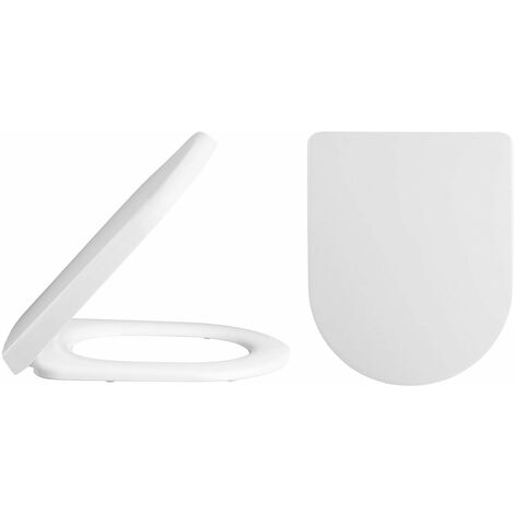 Nuie Asselby D-Shape Thermoplastic Toilet Seat, Soft Close Hinge, White