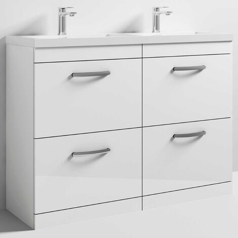 Nuie ATH034C Athena | Modern Floor Standing Bathroom Double Vanity Sink Unit With Soft Close Drawers and Twin Basin, 1200mm, Gloss White