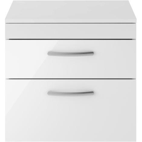 Nuie ATH048W Athena ǀ Modern Bathroom Wall Hung Contemporary Double Soft Close Drawer Vanity Worktop Unit Suitable For Vessel Basin, 600mm, Gloss White