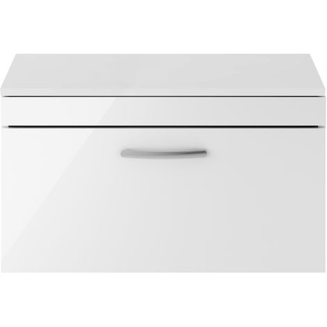 Nuie ATH062W Athena ǀ Modern Bathroom Wall Hung Contemporary Single Soft Close Drawer Vanity Worktop Unit Suitable For Vessel Basin, 800mm, Gloss White
